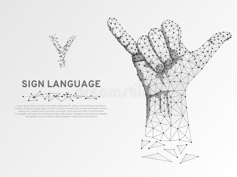 Origami Sign language Y letter, fingers up, hand showing Yes gesture Polygonal low poly Deaf People communication Vector royalty free illustration