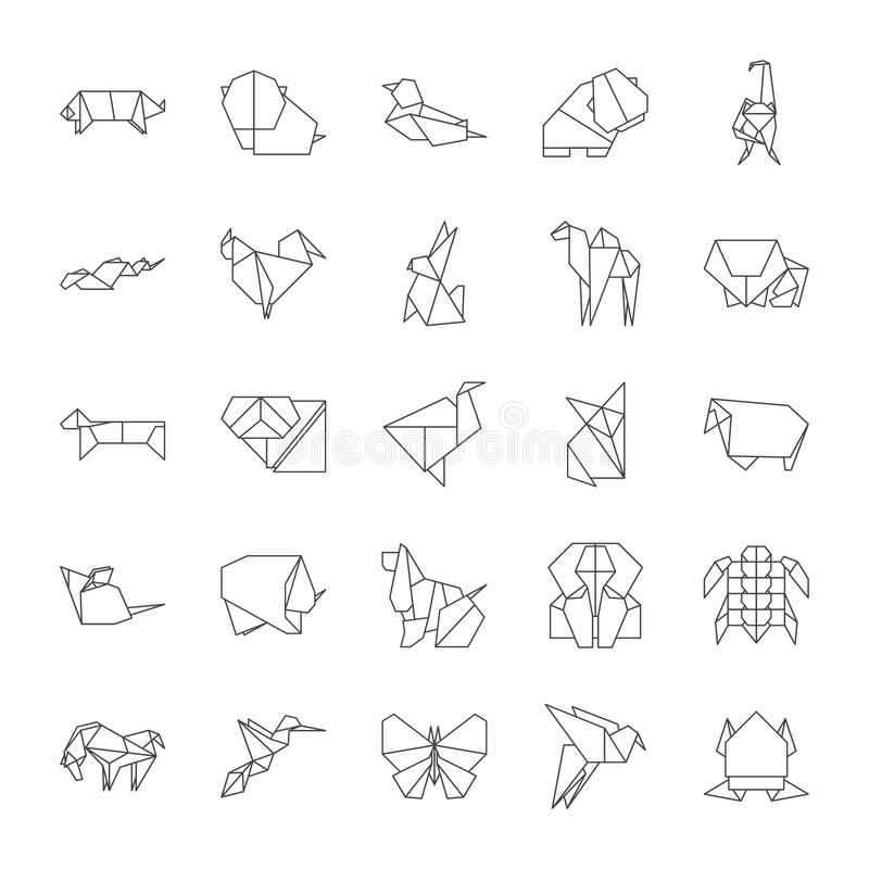 Origami Signs Black Thin Line Icon Set. Vector. Origami Signs Black Thin Line Icon Set Include of Bird, Elephant, Dove, Cat, Butterfly and Dog. Vector vector illustration
