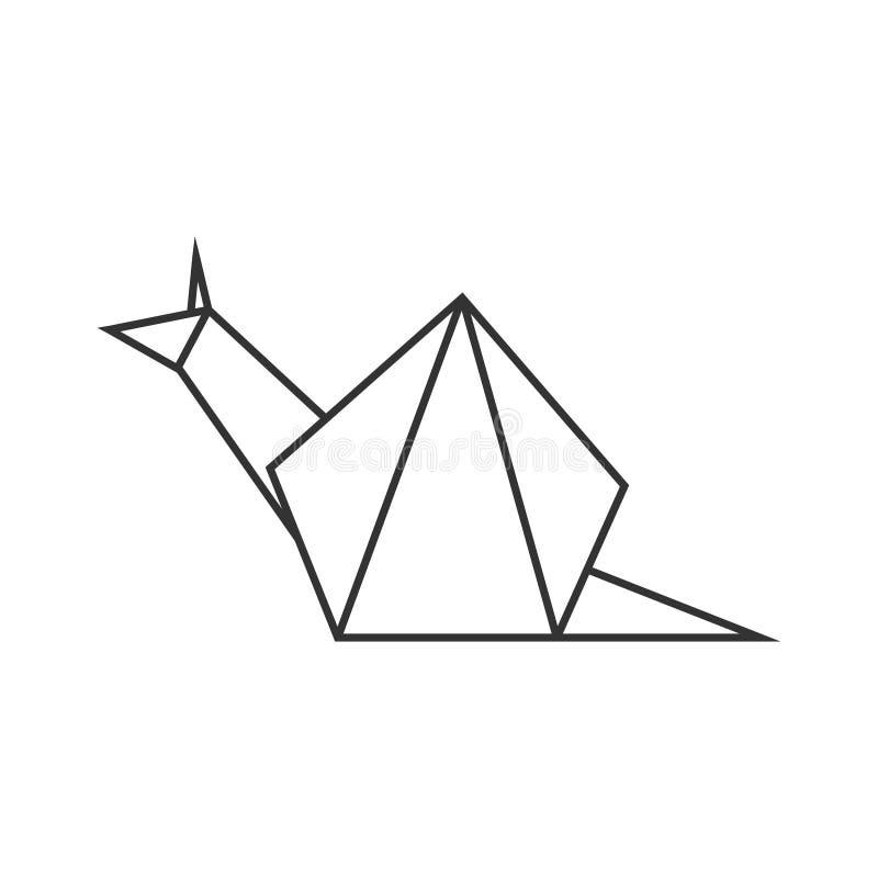 Origami snail. Geometric line shape for art of folded paper. Logo template. Vector. Origami snail. Geometric line shape for art of folded paper. Logo template vector illustration