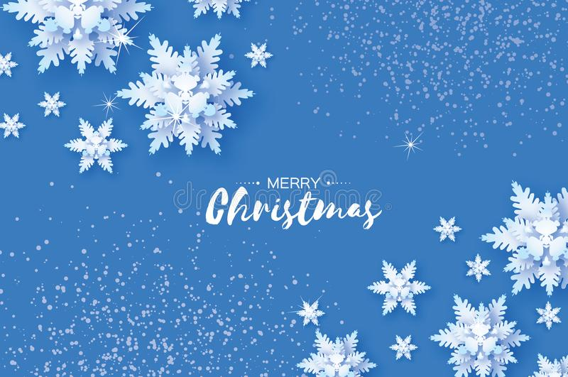 Origami Snowfall. Merry Christmas Greetings card. White Paper cut snow flake. Happy New Year. Winter snowflakes. Background. Space for text. Holidays. Blue vector illustration