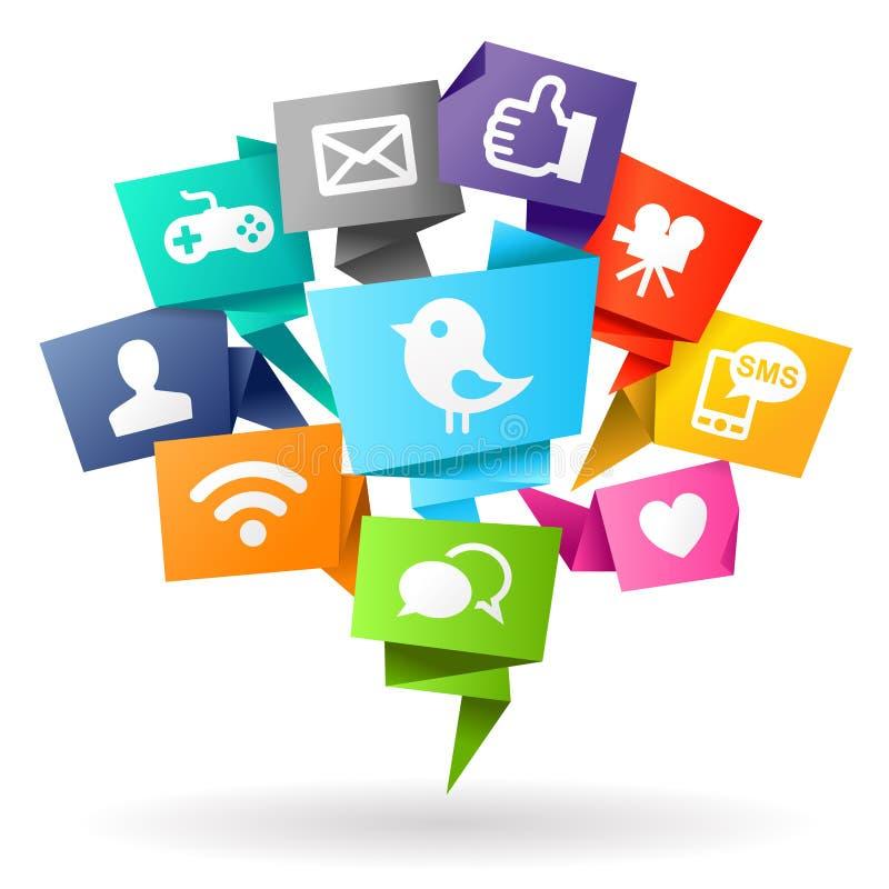 Origami social de media illustration libre de droits