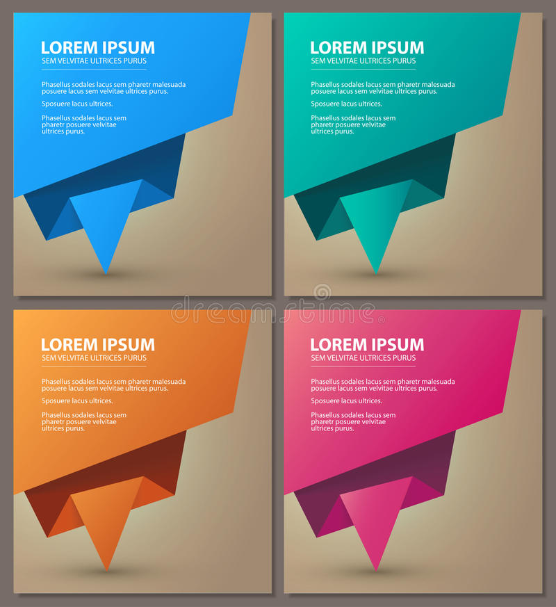 Origami speech bubble colorful banner set. Vector illustration vector illustration