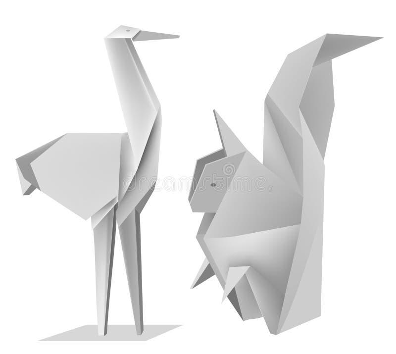 Origami_squirrel_stork stock abbildung