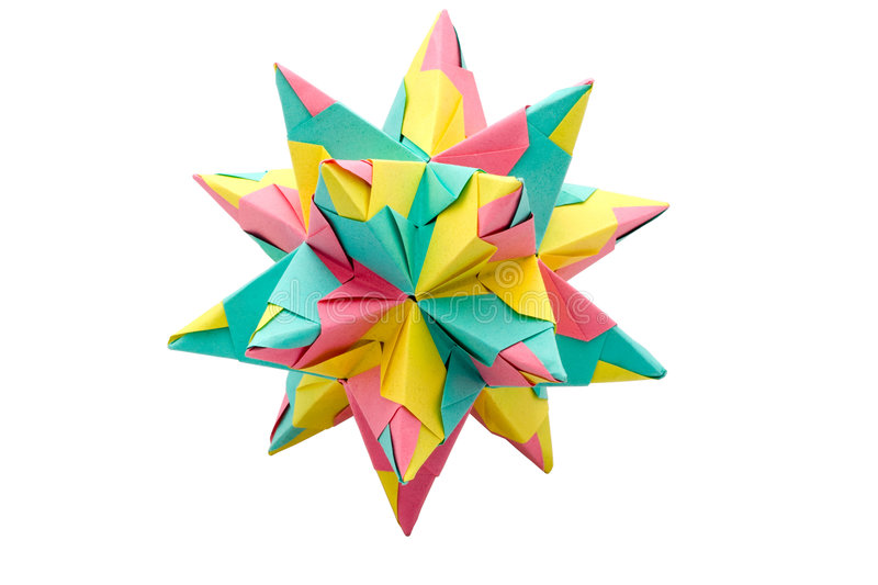 Origami Star. A colorful handmade star made using the origami craft technique, isolated on a white background royalty free stock images