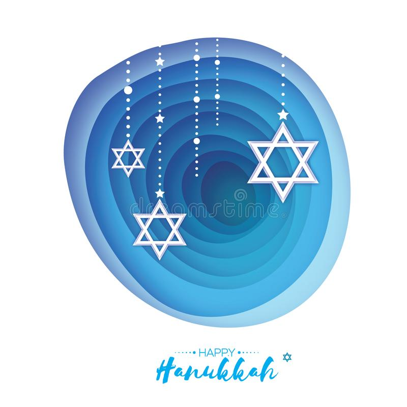 Origami Star of David. Happy Hanukkah. Shining stars. Greeting card for the Jewish holiday on blue background with. Garland. Hanuka Circle tonnel frame. paper stock illustration