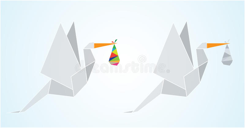Origami Stork Stock Vector. Illustration Of Birds, Triangle - 65383572