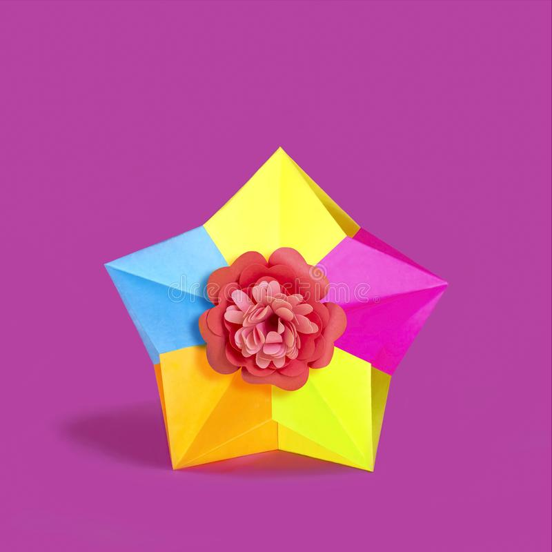 Origami stubarwna gwiazda obraz stock