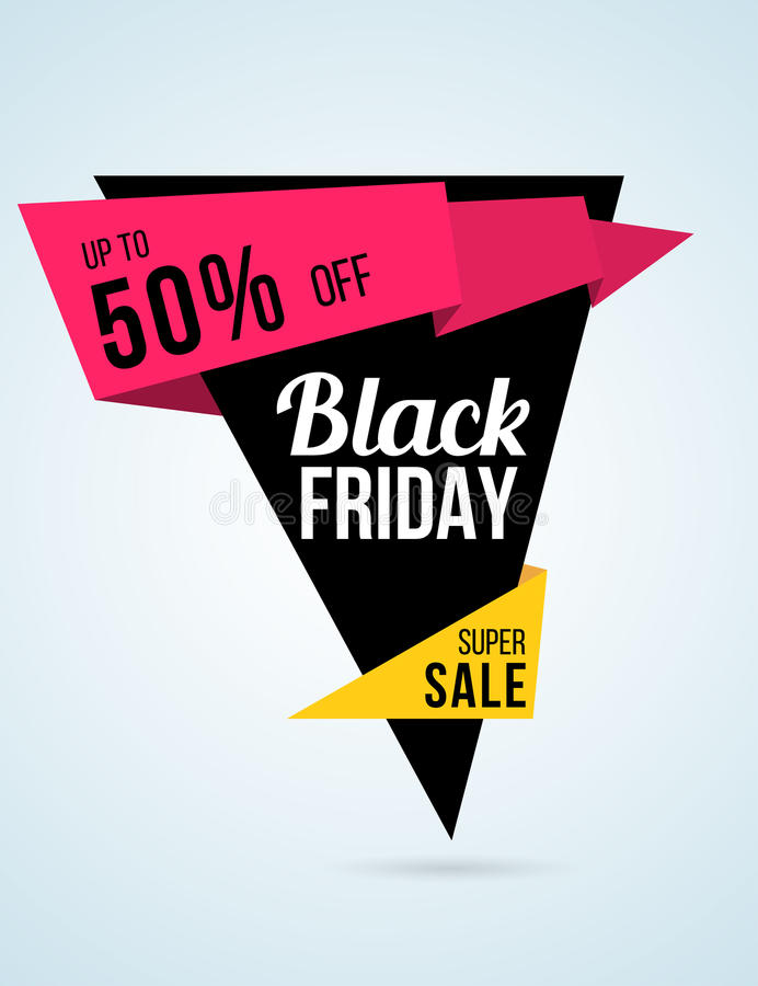 Origami style black Friday sale poster and flyer royalty free illustration