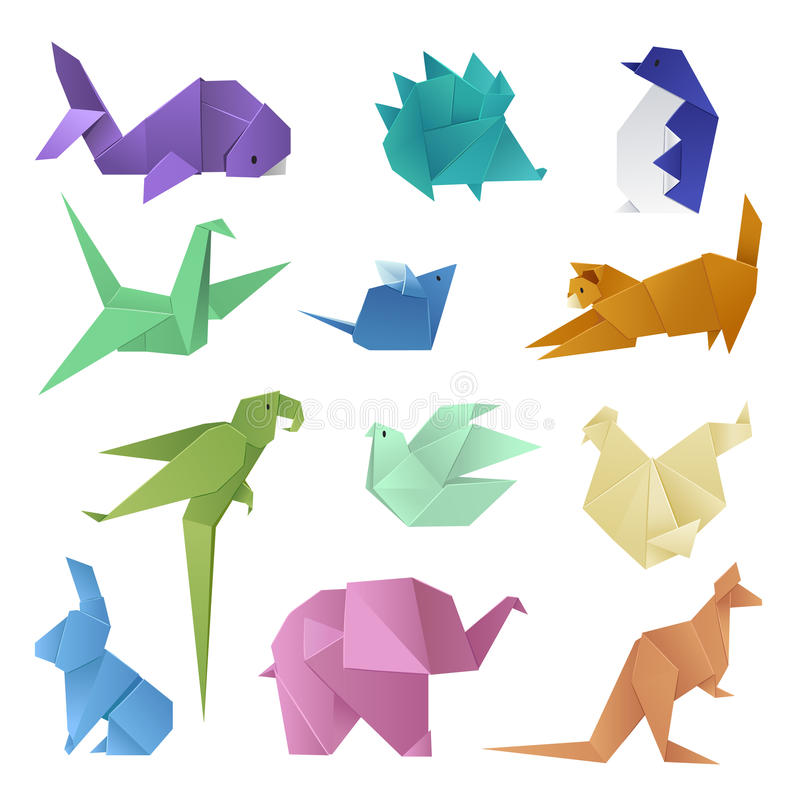 Origami style of different paper animals geometric game japanese toys design and asia traditional decoration hobby game. Vector illustration. Abstract creative stock illustration