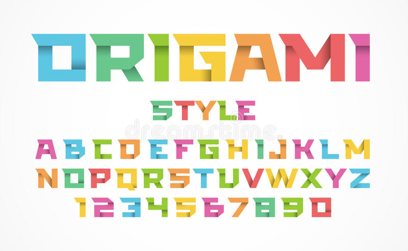 Origami style font royalty free illustration