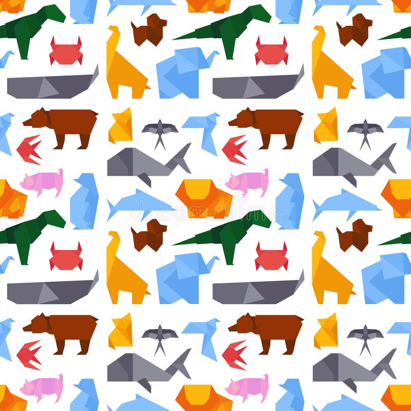 Origami style illustrations of different animals background seamless pattern japan creative traditional toy vector. royalty free illustration