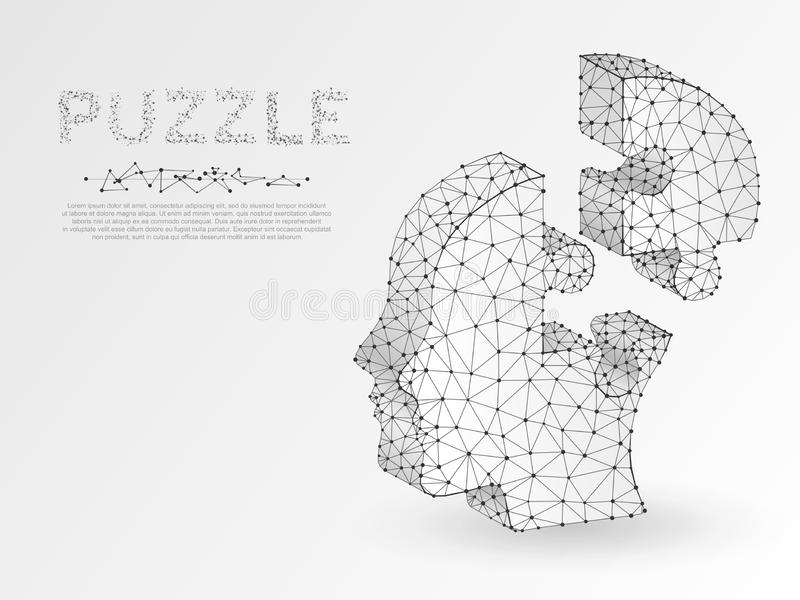 Origami style Jigsaw Puzzle head. Business infographic. Neon low poly human head in form of puzzle. Vector autism royalty free illustration