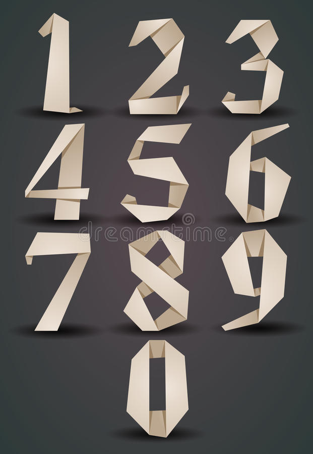 Origami style numbers set, monochrome version, looks best over d. Ark background, vector vector illustration