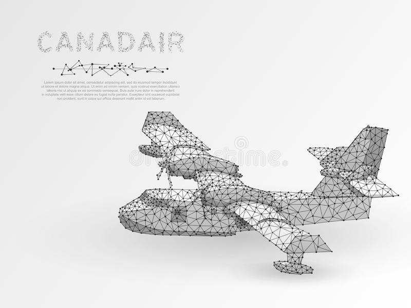 Origami stylu Canadair Powietrzny pożarniczy samolot wodny bombowiec samolotu bój płonie w lasowym niskim poli- wektorze royalty ilustracja