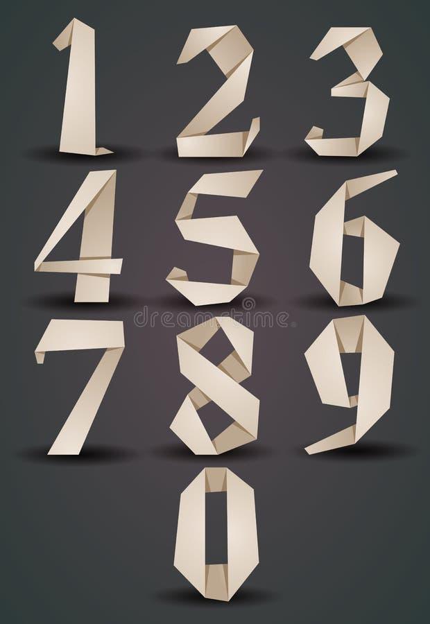 Origami stylu liczby ustawiają dobrze, monochromatyczna wersja, spojrzenia nad d ilustracja wektor