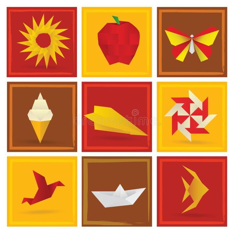 Origami summer symbols stock illustration