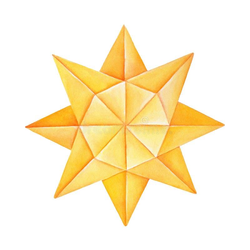 Origami Sun-Watercolourillustration stock abbildung