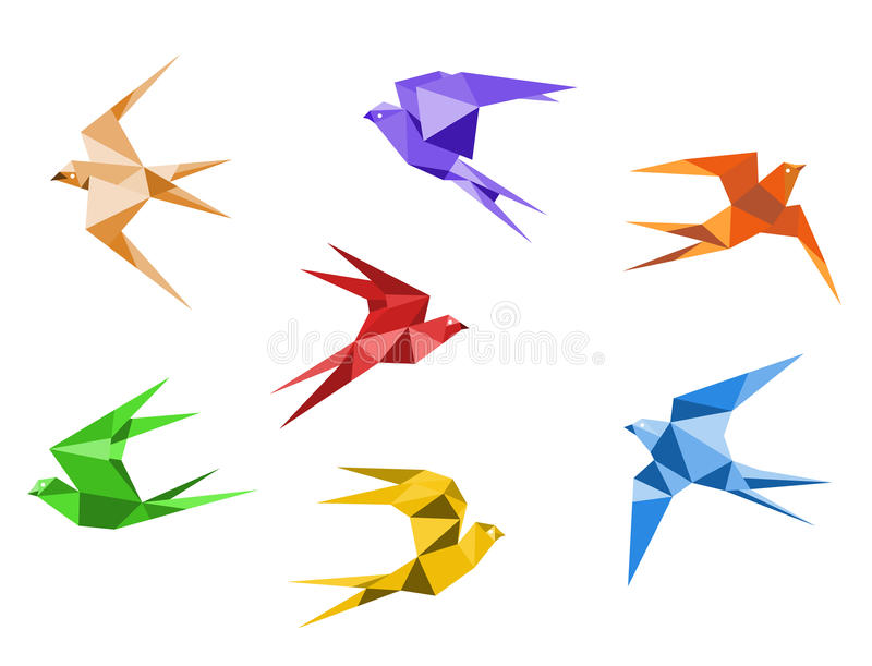 Origami swallows. Swallows birds set in origami style isolated on white background stock illustration