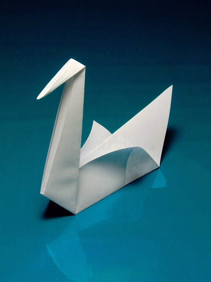 Origami Swan. A swan made by origami - the traditional Japanese art of paper folding