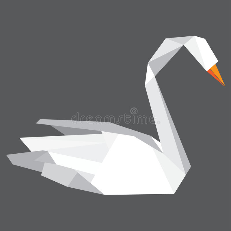 Origami Swan. A swan (Cygnini) is a kind of water bird, from the genera Cygnus and Coscoroba. They are in the subfamily Anserinae, in the family Anatidae, which stock image