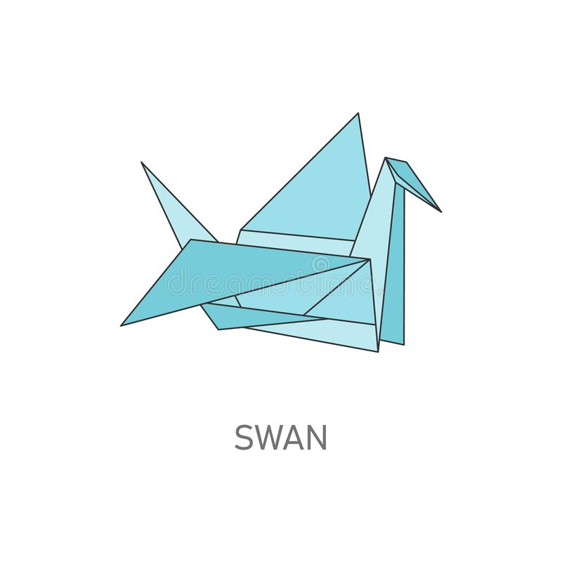 Origami swan folded from paper, hand crafting style vector illustration isolated. Origami swan bird folded from paper in the hand crafting style vector stock illustration