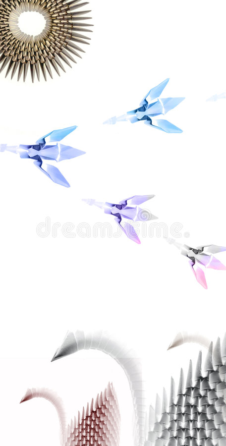 Origami swans. Colored origami landscape on white background royalty free illustration