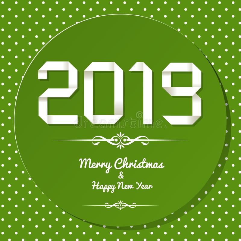 Origami 2019 symbol on a green background with polka dots. Origami 2019 symbol on a green background with polka dots vector illustration