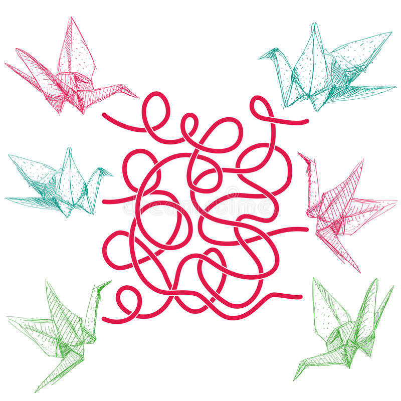 Origami tapetuje żurawie ustawiających kreśli na białym tle labitynt gra dla Preschool dzieci wektor royalty ilustracja