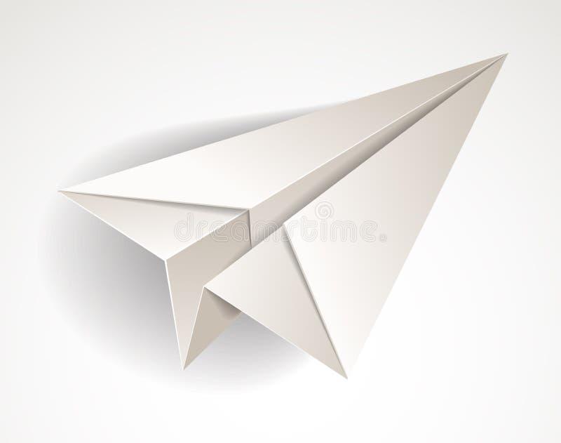 Origami tapetuje fałdowego zabawka samolot, 3d realistyczna wektorowa ilustracja royalty ilustracja