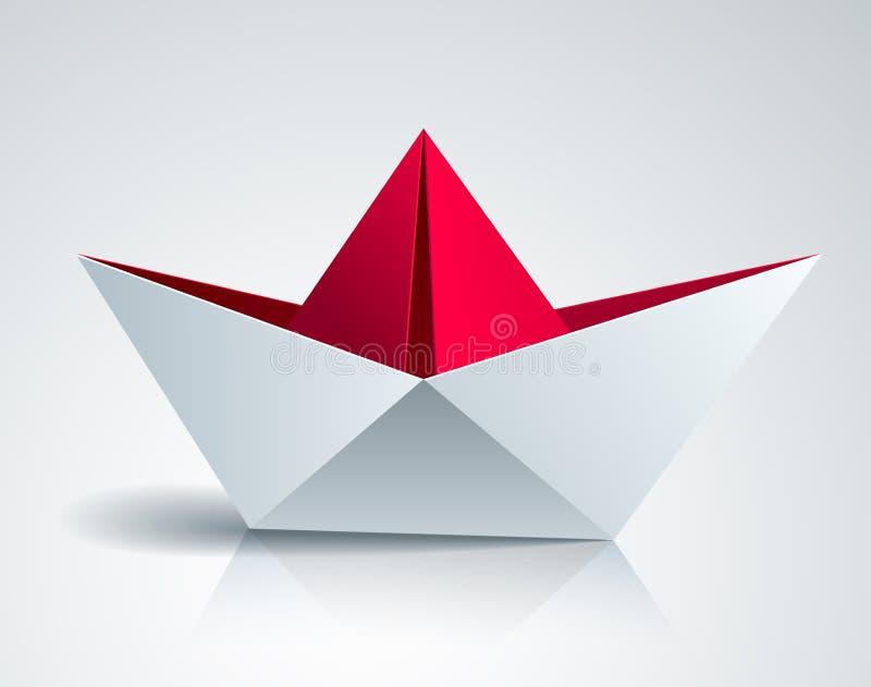 Origami tapetuje fałdowego zabawkarskiego statek, 3d realistyczna wektorowa ilustracja ilustracji