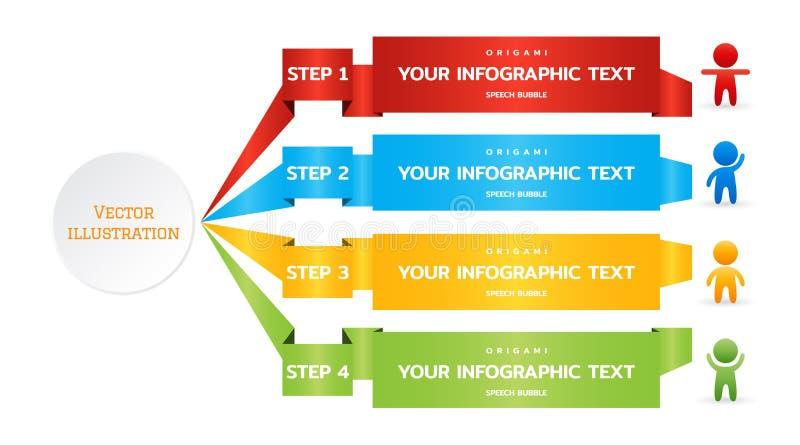 Origami tapeziert Band von 4 Schritten, Wahlen, Stadien, Teile für das infographic Geschäft Bunte nummerierte Fahnenschablone vektor abbildung