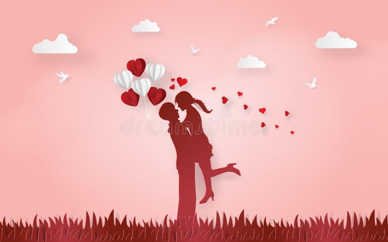 Origami tapeziert Kunst des Schattenbildes, das nette Paare die Liebe miteinander mit Ballon in der Hand des Mädchens auf Grasbod lizenzfreie abbildung