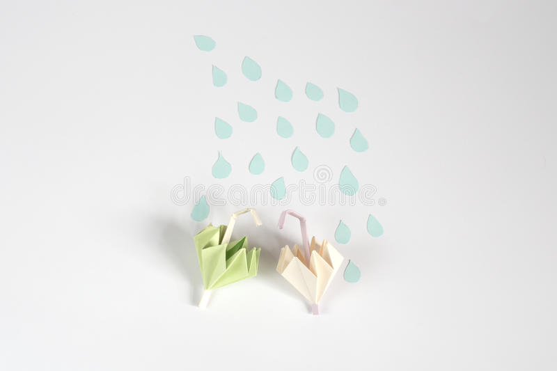 Origami umbrella and rain concept. For isolate royalty free illustration
