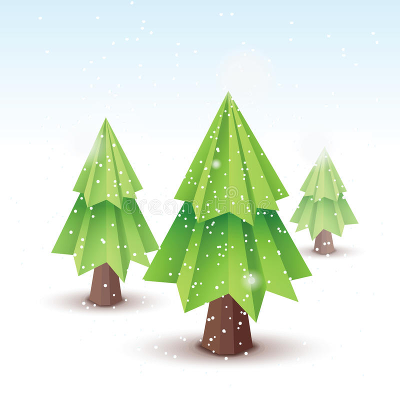 Origami vector christmas tree stock illustration