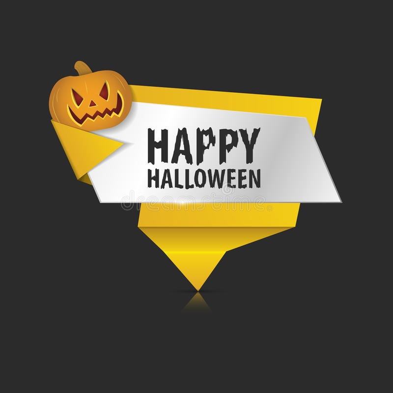 Origami Vector infographic colorful banner. Happy Halloween vector illustration