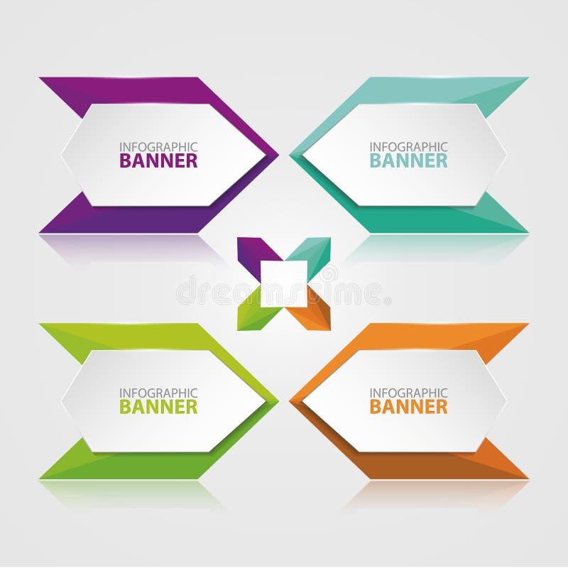 Origami vectorbanner Witte die banner met gekleurd document wordt verpakt vector illustratie