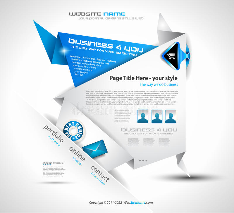Origami Web site - elegante Auslegung stock abbildung