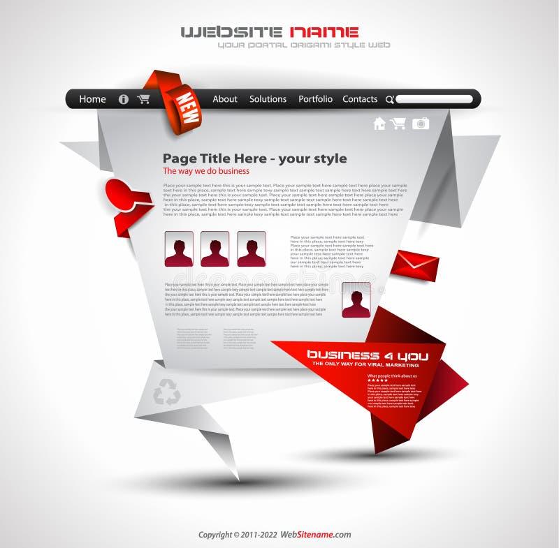 Origami Web site - elegante Auslegung lizenzfreie abbildung