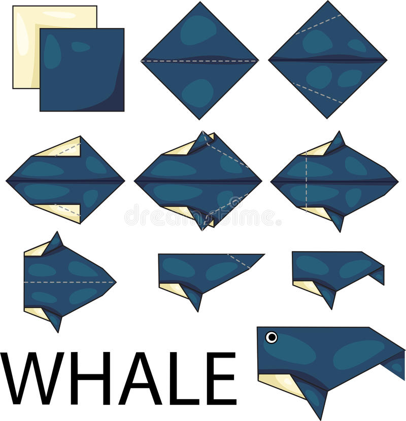 Origami whale. Illustrator of origami with whale royalty free illustration