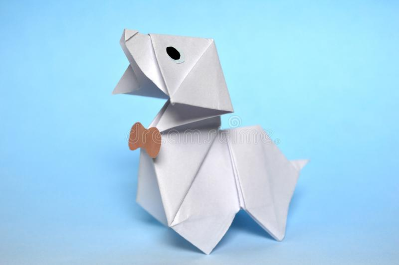 Origami white dog stock photo