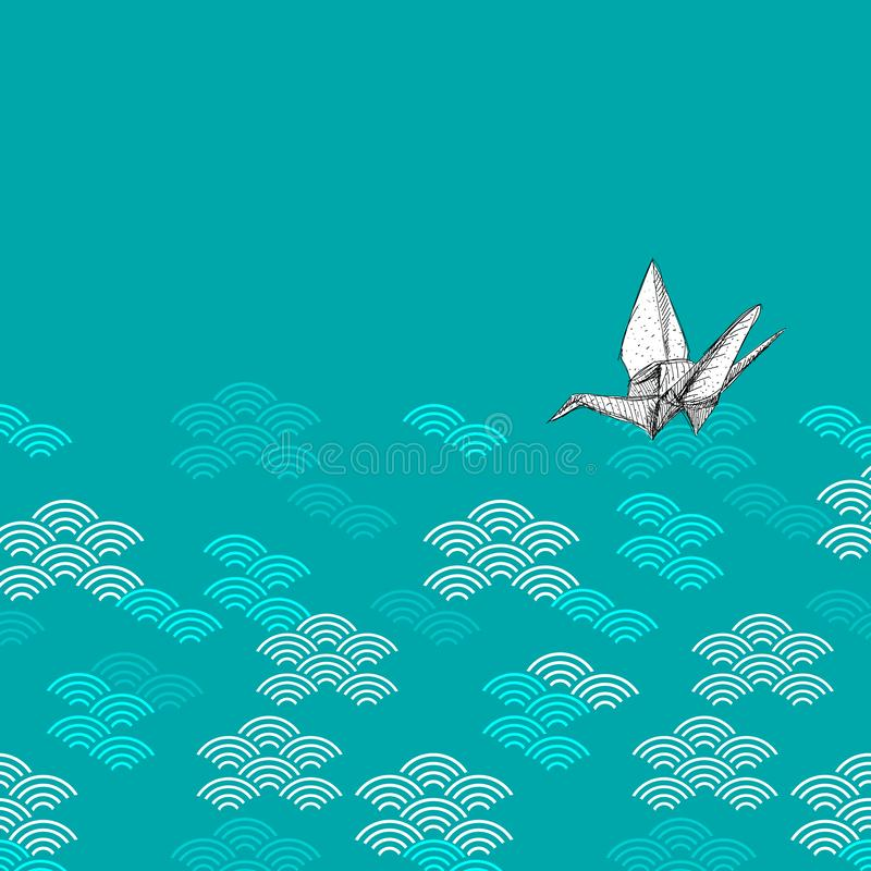 Origami white paper cranes sketch sky clouds pattern. Geen black white on blue teal Nature oriental background with japanese wave. Circle. Can be used for stock illustration