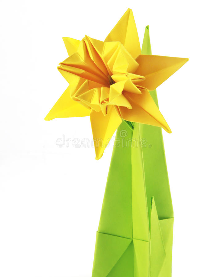 Origami yellow narcissus stock photos