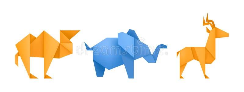 Origami zwierząt papieru różne zabawki ustawiający wektor ilustracji