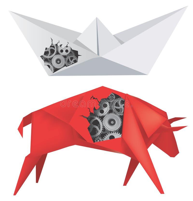 Origamiboot en Stier met Toestellen stock illustratie