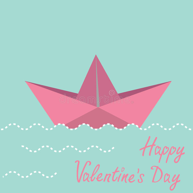 Origamidocument boot.  De gelukkige kaart van de Valentijnskaartendag. vector illustratie