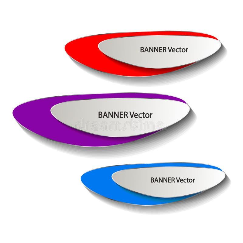 Origamidocument infographic kleurrijke geplaatste banners Annotatielint De vorm van het reclameontwerp Vector stock afbeeldingen
