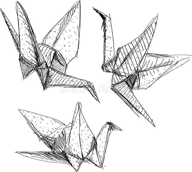 Origamidocument kranen geplaatst schets De zwarte lijn op witte achtergrond stock illustratie