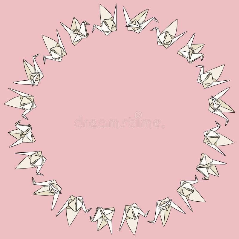 Origamidocument swand de hand getrokken kroon van het krabbelsornament royalty-vrije illustratie