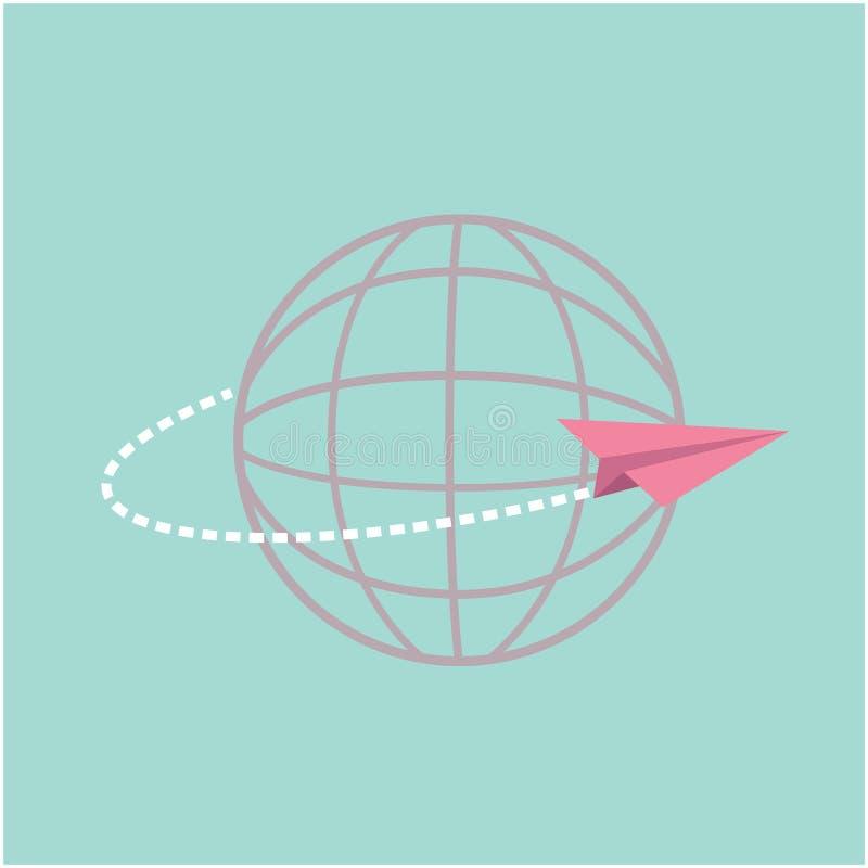 Origamidocument vliegtuig die rond de wereldbol vliegen vector illustratie