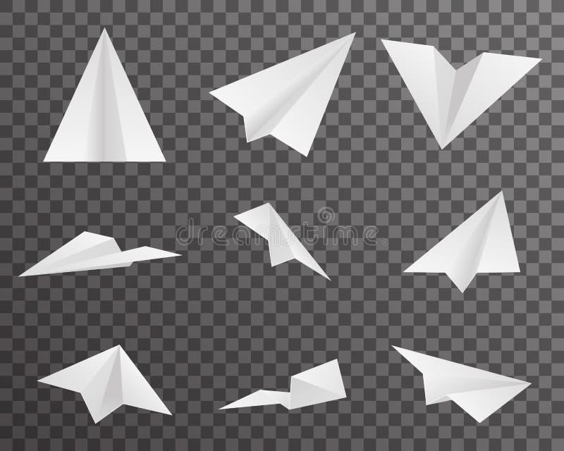Origamidocument Vliegtuigenpictogrammen Geplaatst Symbool Transparant Ontwerp Als achtergrond Vectorillustratie royalty-vrije illustratie